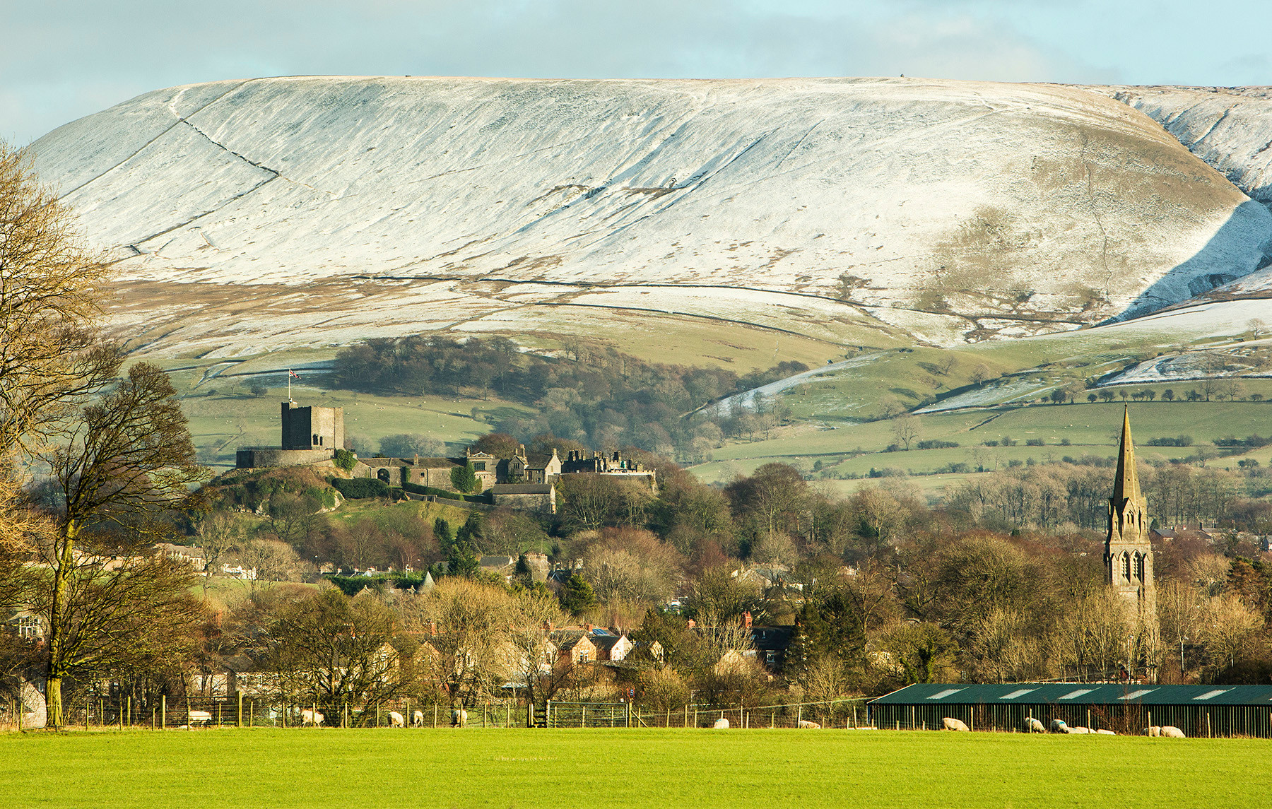Clitheroe Castle and Pendle Hill, winter