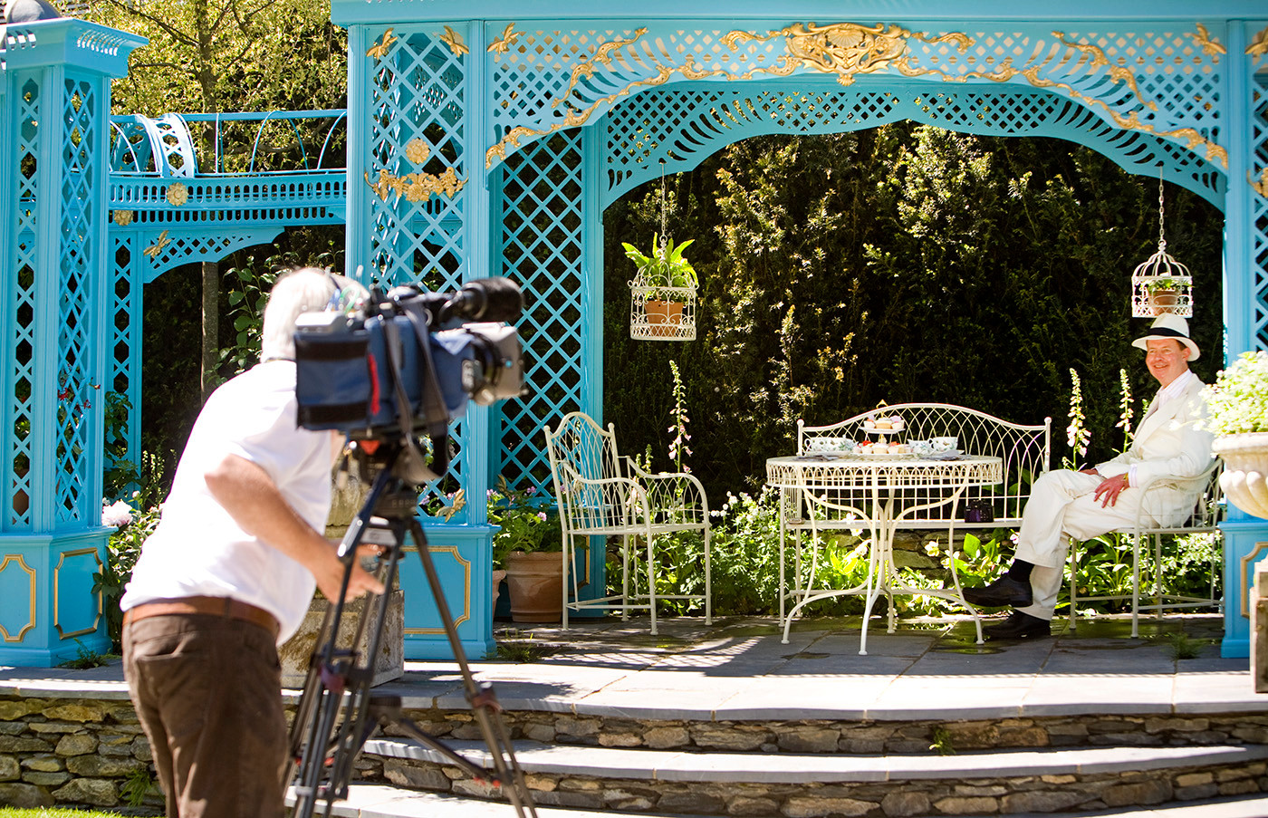 Jonathan Denby being filmed in the Victorian Aviary Garden, RHS Chelsea Flower Show 2010