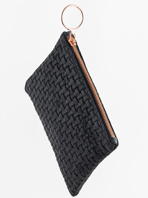 FIKA black leather- woven effect