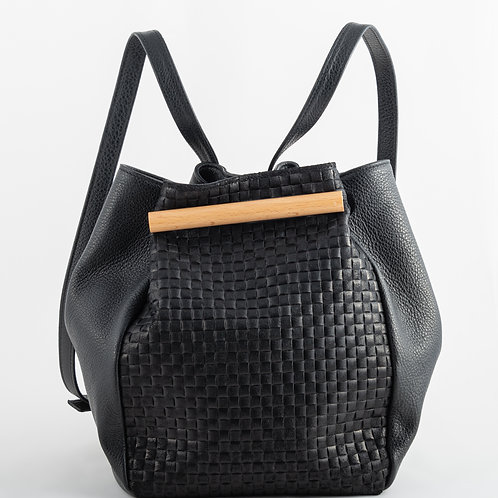 AWARE backpack in black leather- woven effect