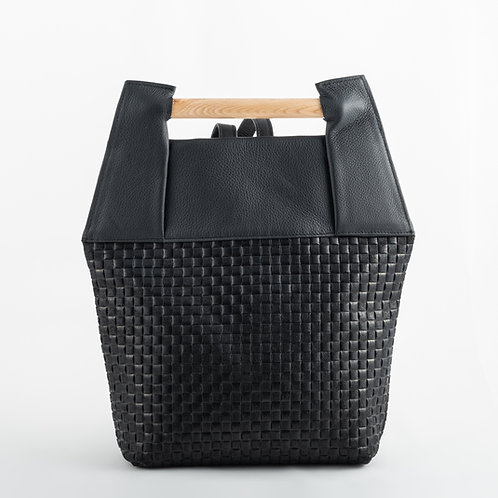 DUENDE backpack black leather woven effect