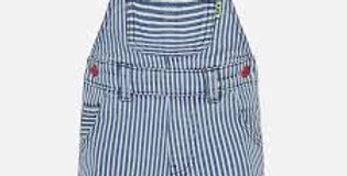 Striped Shortall with Contrast Red Snaps