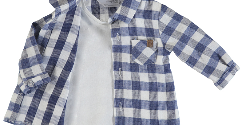 Checked Button Down Layered Tee