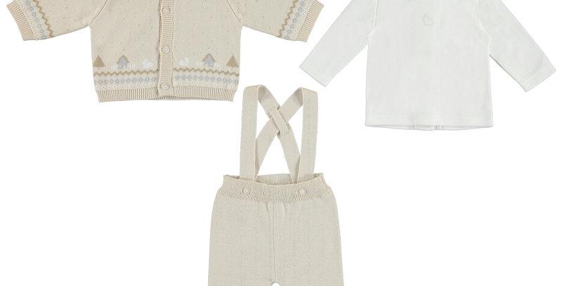 Cardigan Pattern Sweater, Knit pant & tee