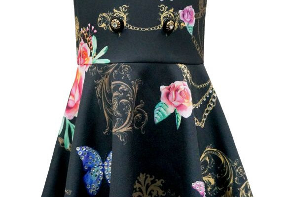 Floral chain decorated skater dress
