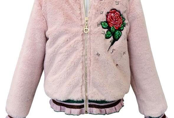Faux fur rose appliqued bomber jacket