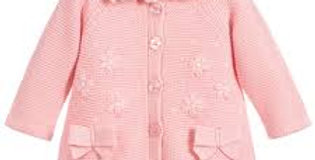 Embroidered, Knit  Bow Sweater Coat, removable collar