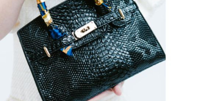 Faux croc leather with scarf trim