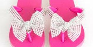 Crystal Bow flip flops        *NO CRYSTAL ON STRAPS*