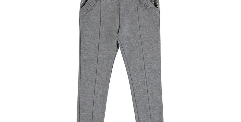 Gray Trouser w/ Ruffle Pocket