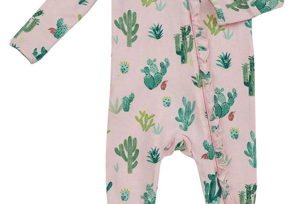 Pink Cactus Zipper Footie