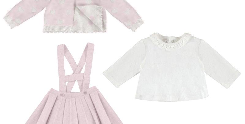 Pattern Sweater, Collared Tee & Pleated Skirt
