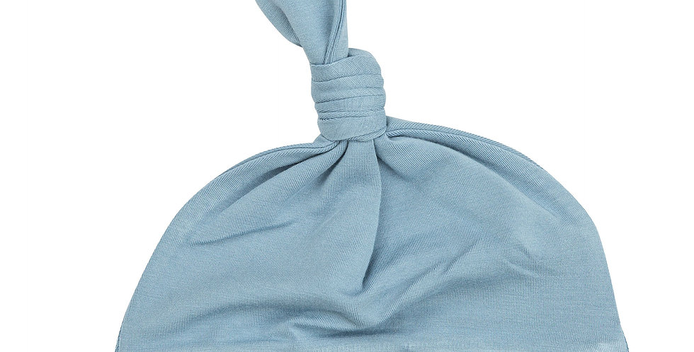 Solid Basics Blue Knotted Hat