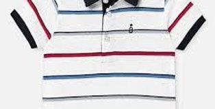 Wide Stripe Placket Collared Polo