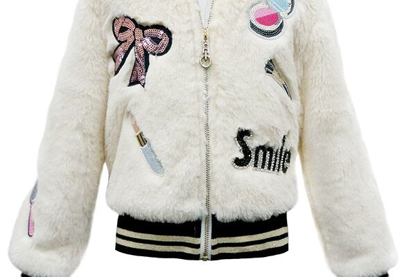 Faux fur appliqued, banded zip jacket