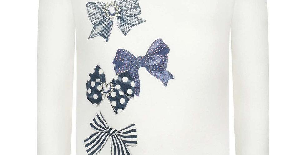 Gem Decorated Bows & Ruffled Sleeve tee