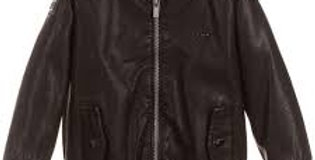 Faux Leather Pocketed Bomber Jacket