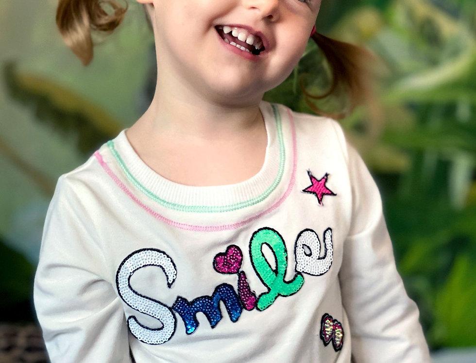 Smile Embellished Long Sleeve Top