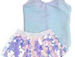 Metallic Rib 1pc & paillette skirt