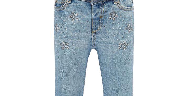 Belted Embellished Denim Pant