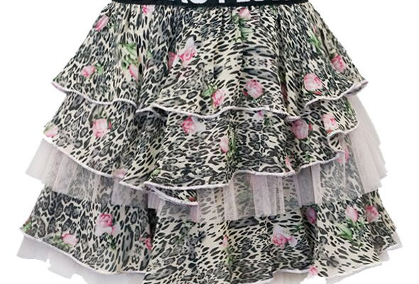 Leopard and floral tiered skirt