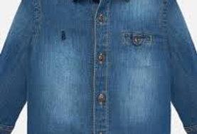 Stonewashed Button Pocket Denim Shirt