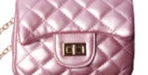Pearlized  quilted cross body purse