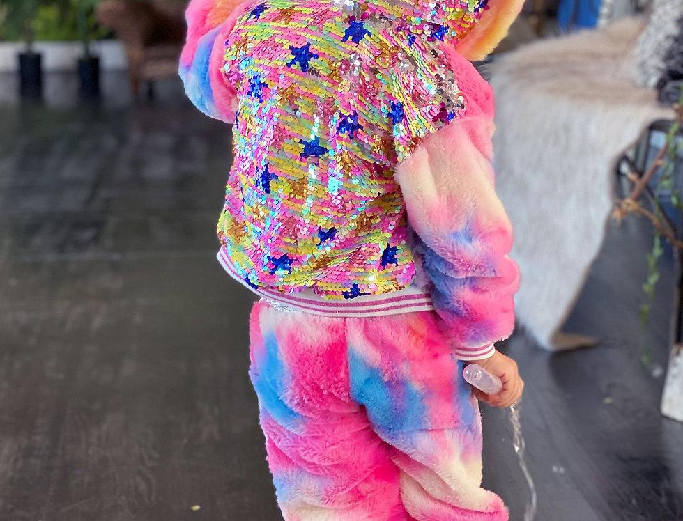 Rainbow Faux Fur Jacket