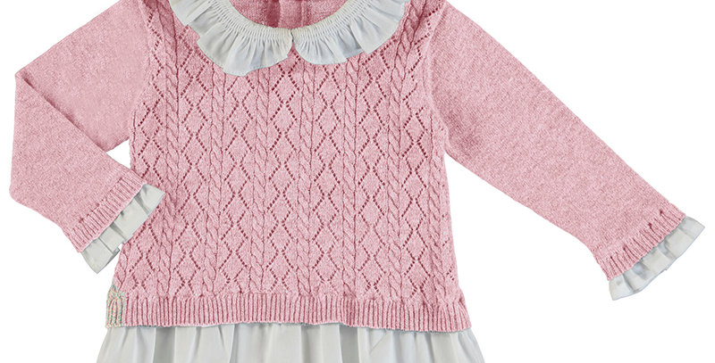 Pointelle Detail Sweater with Blouse Trimmings