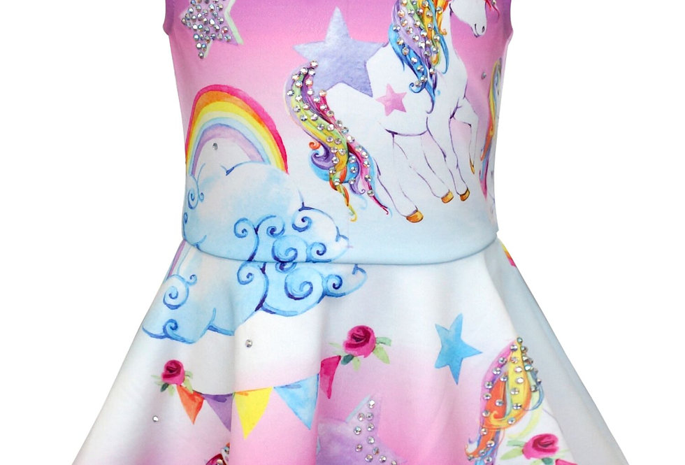 Unicorn Embellished Skater Dress
