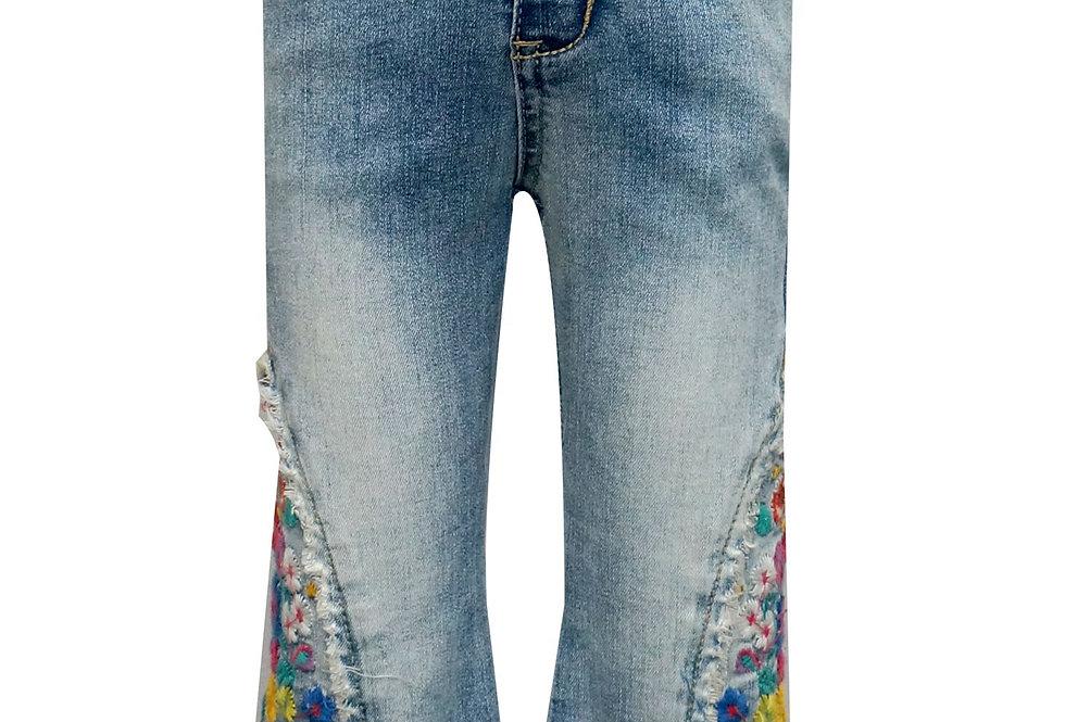 Embroidered denim jean
