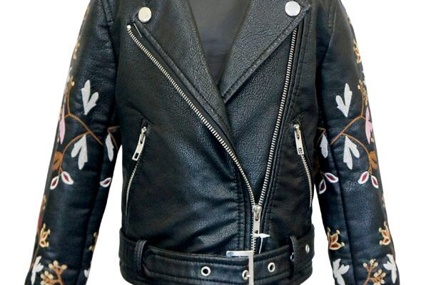 Faux leather embroidered & appliqued jacketJa