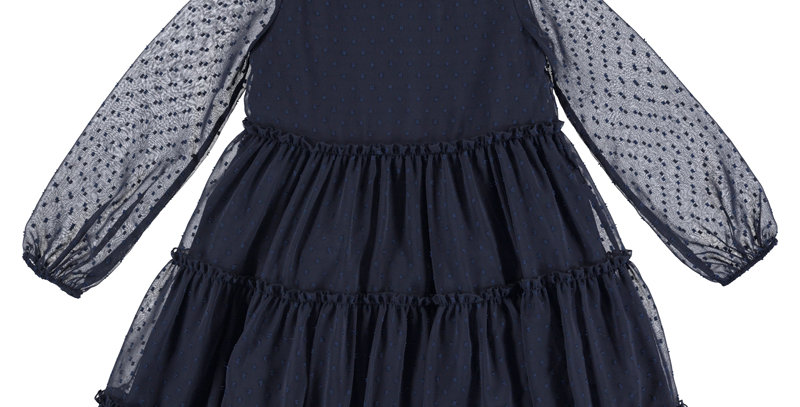 Tiered net, print dress
