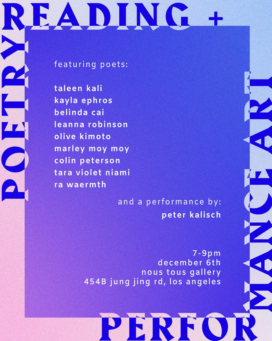 Poetry Reading / Performance Art @ Nous Tous