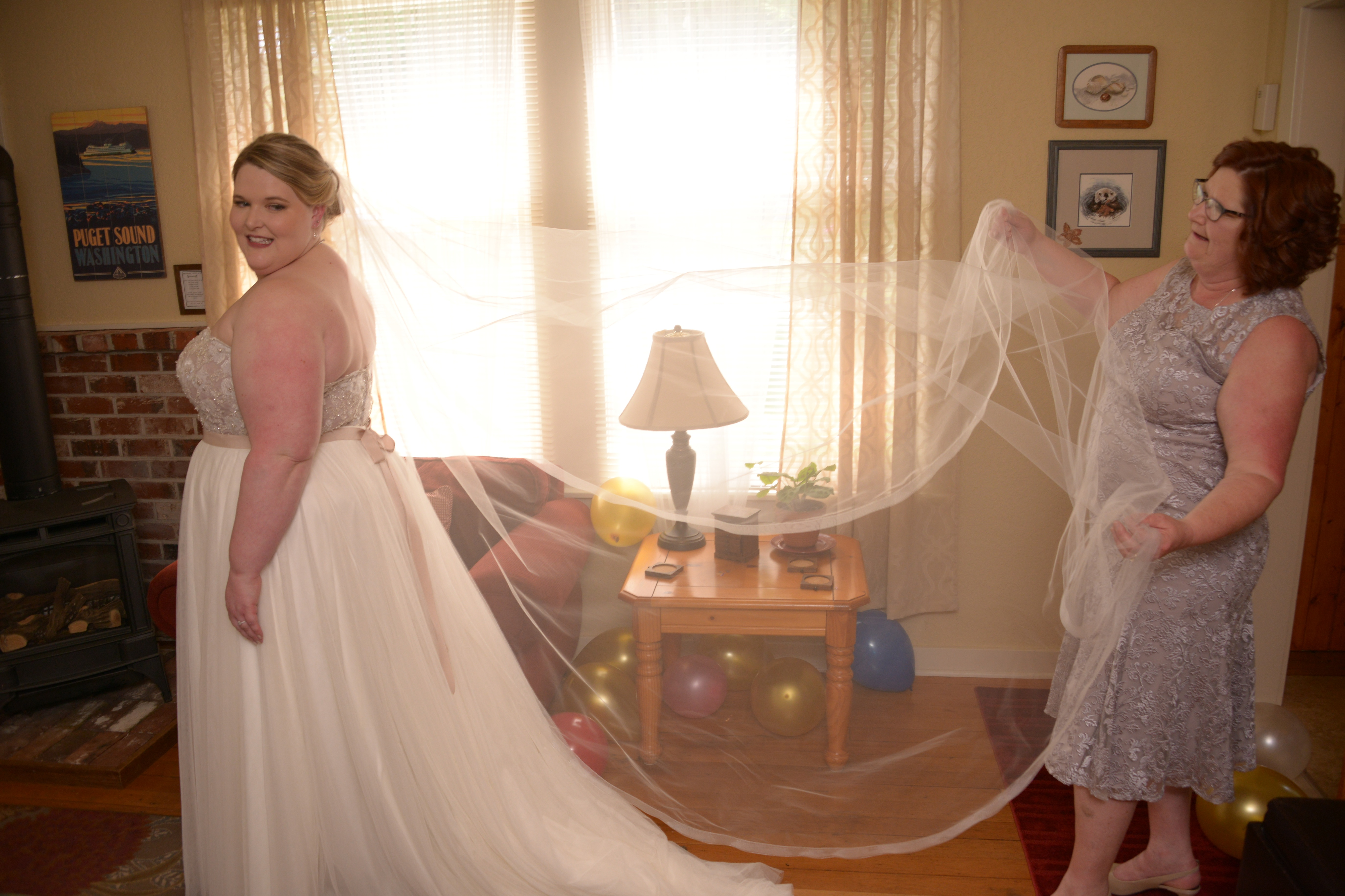 Bride getting ready in Port Gamble