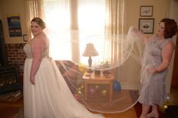 Bride getting ready in Port Gamble