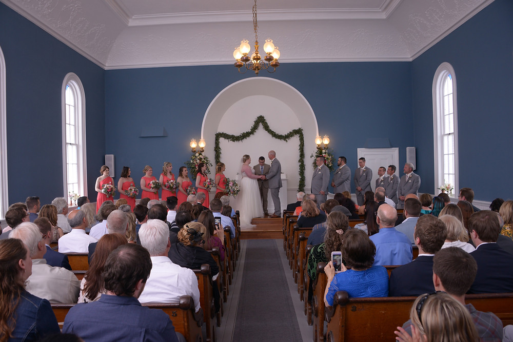 Chapel in Port Gamble, Grey and coral wedding colors