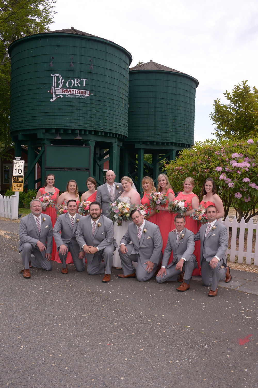 Iconic Port Gamble water tower, wedding photo