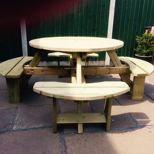 Westwood Round Picnic Table Sits 8