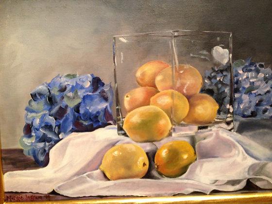 Lemons with Hydrangeas