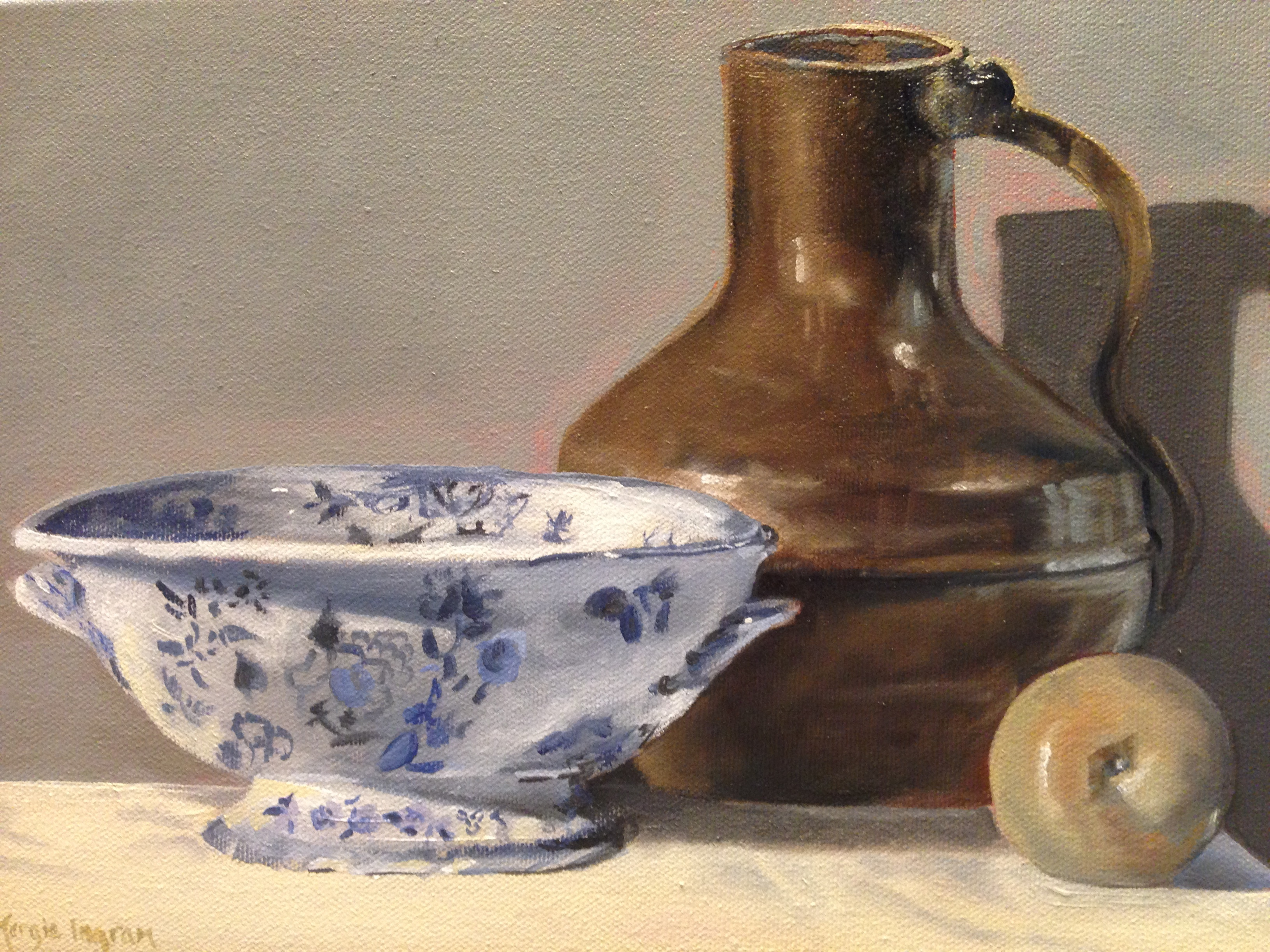 Blue and White China with Pitcher