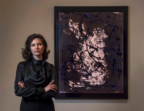 Editorial portrait of award winning artist Justine Varga (and her artwork) for National Art School / The Australian (print & web).