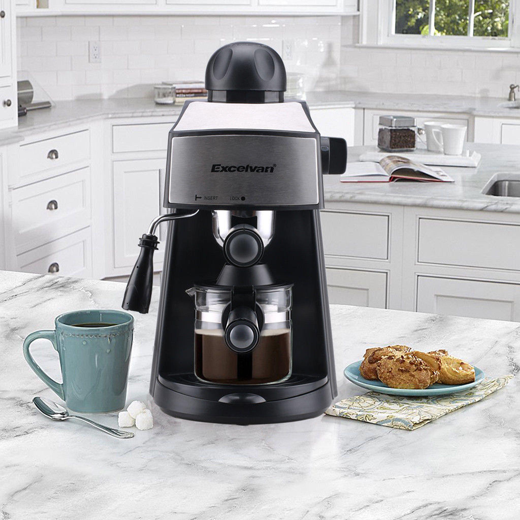 Kitmaster 4 Cup Steam Coffee Maker Machine Espresso Cappuccino Latte Barista