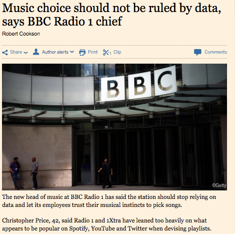 Music choice should not be ruled by data, says BBC Radio 1 cheif