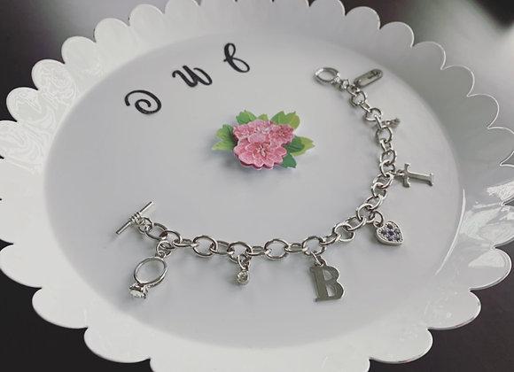 XL Circled Silver Charm Bracelet (Customized)