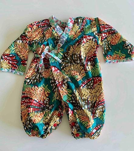 Kimono bébé Wax à motifs floraux