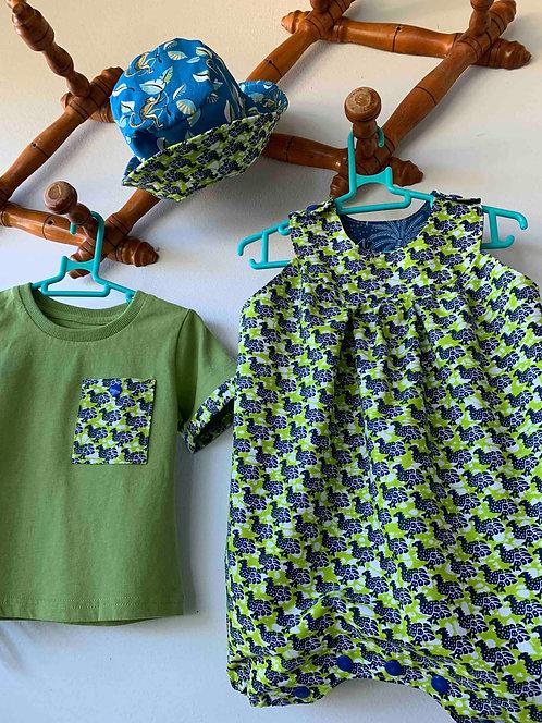 Ensemble Barboteuse Pintade et T'shirt