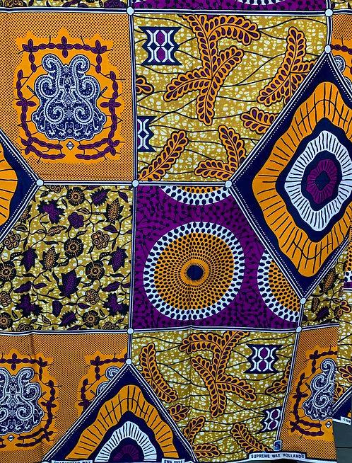 """Tissu Wax """"Variation orange et violet"""""""
