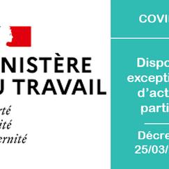 Dispositif exceptionnel d'activité partielle du 25/03/2020 - Coronavirus - COVID-19