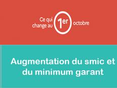 01/10/2021 : Augmentation du smic et du minimum garanti